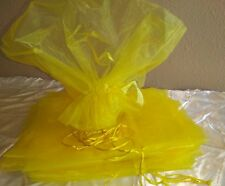 Organza Flower Wrapping Bouquet  Wedding Sleeves - Yellow - 12 Pcs.