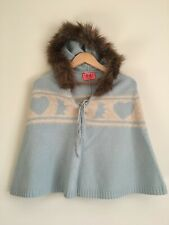 Juicy Couture Scottie Dog Heart Light Blue Knit Wool Poncho Hooded Cape Size OS