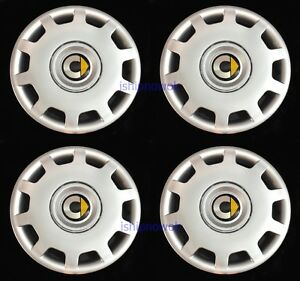 """Set (4pcs) Wheel Covers fit 2008-'15 Smart Car Fortwo 15"""" Hubcaps Silver New"""