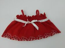 Build A Bear ~ Red Spaghetti Strap Top w/Embroidered Flower Trim