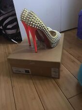 Authentic Christian Louboutin 37 Yellow Lady Peep Spikes