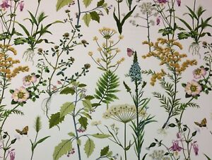 "BALLARD DESIGN ISABELLA GREEN FLORAL BOTANICAL BUTTERFLY FABRIC BY YARD 54"" W"