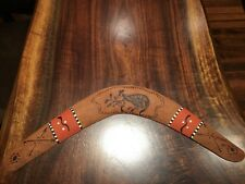Aboriginal Boomerang from Mudi Dudi Tribe - Etched and Painted
