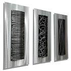 Abstract Metal Wall Art Sculpture Silver Black Designer Modern Decor Jon Allen