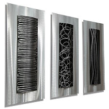 Black & Silver Modern Metal Wall Art, Abstract Sculptures, Set of 3 - Jon Allen