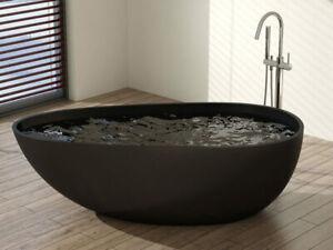 Matte Black Stone Bathtub Oval Shape 1700mm - Brand New Solid Surface Bathtub