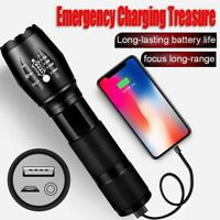 Zoomable Flashlight USB Rechargeable Ultra Bright Waterproof LED Torch Lamp