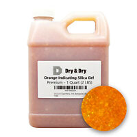 "1 Quart(2 LBS) ""Dry&Dry"" Premium Orange Indicating Silica Gel Desiccant Bead"