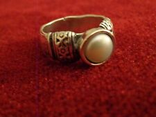 Sterling Silver & Pearl Ring by Didae -size 7 3/4