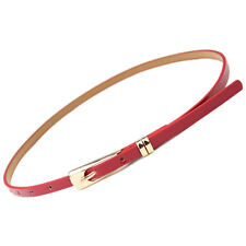 New Women's Ladies Skinny Buckle Waist Belt Thin Leather Narrow Waistband NIUK