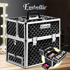 Carry Case Portable Cosmetic Beauty Makeup 4 Delicate Sliding Tray Diamond Black
