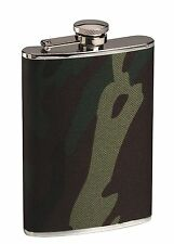 Stainless Steel Woodland Camo Flask - 8oz Nylon Camo Cover Camoulflage Flask
