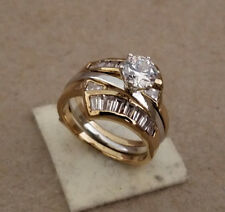 Lady's Yellow Gold Rhodium Plated 2 Piece Wedding Ring Band Baguette CZ's 7.25