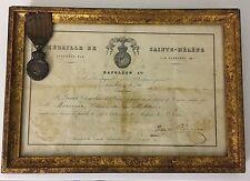 Medaille De Saint Hélène & Diplôme 1821 Empire Napoleon 1er Napoleon III