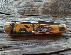 CASE XX TRAPPER KNIFE COLOR SCRIMSHAW of HALLOWEEN JACK-O-LANTERN WITH CROW