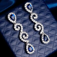 Gift Package Noble Double Blue Cubic Zircon White Gold Plated Girl Drop Earrings