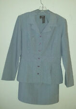 Misses Gray BGB 2pc Size 12 Skirt and Jacket Stripe Careerwear Lightweight Suit