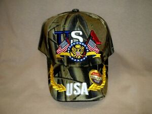 Colorful, Embroidered, Camo  Ball Cap with USA and our Eagle and Flag