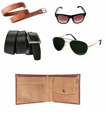 Combo of 5 products 2 Belts,2 Sunglasses(Green &Black) and Wallet Free LED LIGHT