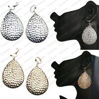 "CLIP ON 2.5""/3""TEARDROP retro EARRINGS hammered metal BIG gold/silver fashion"