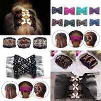 Magic Charming Stretch Bow Wood Bead Hair Comb Cuff Double Clip Accessories Gift