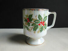 December Holly Christmas Porcelain Pedestal Footed Coffee Mug Cup Lustre Ware