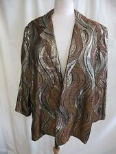 "Ladies Jacket size XXL, bust 50-52"", multi tone golden metallic, open front 7680"