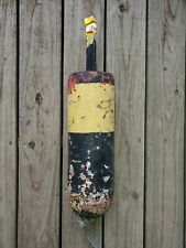 ANTIQUE AUTHENTIC NOVA SCOTIA BLACK/YELLOW LARGE WOODEN LOBSTER BUOY