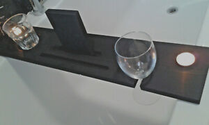 Wooden Bath Tray Caddy - Wine Glass Holder - BLACK