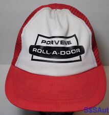 Vintage 1980s PORVENE ROLL-A-DOOR LOGO Advertising Snapback Trucker Mesh Hat Cap