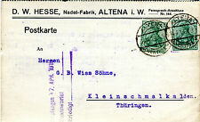 Karte Deutsches Reich 1919 D.W. Hesse Altena i.W. Nadel Fabrik Nr : 85 KA042