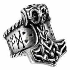 Alchemy Gothic Thors Runehammer Pewter Signet Ring - 4 Sizes Silver Gods