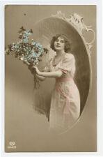 1910s British BEAUTIFUL LADY Pretty Woman Glamor photo postcard
