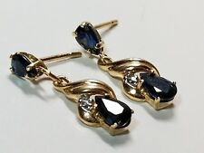 14K Solid Gold Earrings Natural Blue Sapphire & Diamonds Dangle Post Signed JCM