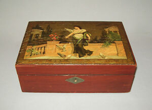Old Antique Vtg 19th C School Girl Writing Box Academy Decorated Very Nice