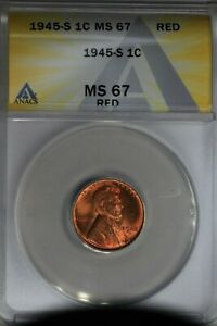 1945-S  .01  ANACS  MS 67 RED  Lincoln Head Cent, Lincoln One Cent