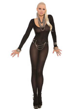 New Black Long Sleeve Open Crotch Bodystocking Lingerie One Size 8-12