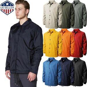 Mens COACH JACKET Windbreaker Active Sportswear Lightweight Waterproof Nylon