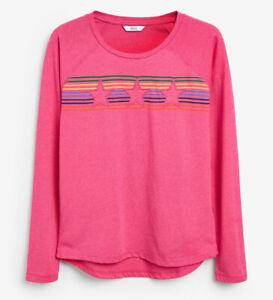 NEXT Ladies Size 22 Pink Stripe Star Raglan Long Sleeve Top BNWT