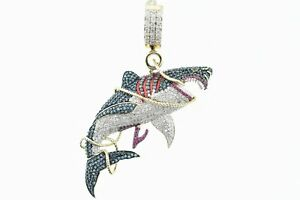 10K Solid Yellow Gold and SI Diamond 1.50 CT Large Blue Shark Pendant w/ Charm