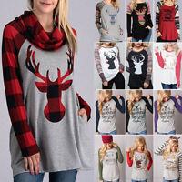 Ladies Women's Reindeer Tops Long Sleeve Pullover Casual Blouse Loose T-shirt