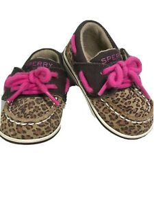 Sperry Toddler Girls Taupe And Pink Leopard Leather Shoes Size: 2M (3-6 months)