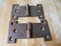 1 Pair Vintage Cast Iron Hinges gate door shed old hardware