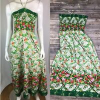 Vintage 60's Parade Women's Green Floral Ruched Maxi Peasant Garden Boho Dress