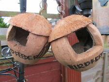 Two Completely Natural Coconut Hanging Wild Bird Feeders