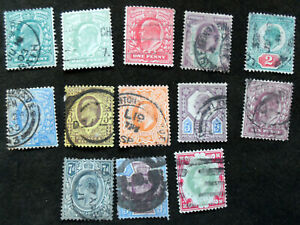 GB Stamps 1902-10 Edward VII 1/2d-1/- 13 Values Used Collection SG215 - 314