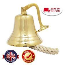 Solid Brass Ship Bell Nickel Plated Wall Mounted Bracket School Door Reception
