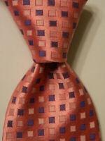 ETON Men's 100% Silk Necktie ENGLAND Luxury Geometric BOXES Pink/Blue NEW Rare