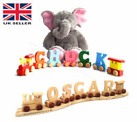 WOODEN LETTERS PERSONALISED NAME TRAIN ALPHABET COLOUR CHILDRENS CHRISTMAS GIFT