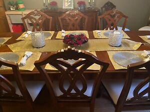 Large dining table and 10 chairs - good condition